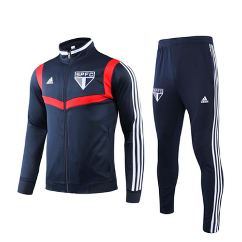 Sao Paulo 19/20 Navy High Neck Collar Sweat Shirt Kit(Top+Trouser)